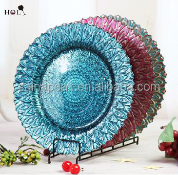cheap wedding clear beaded charger glass plates for sale