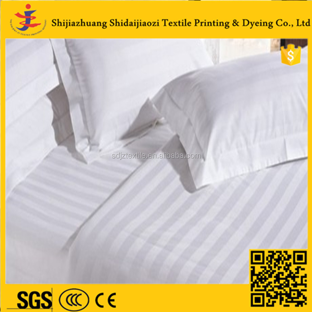 hot sale 100% cotton woven bleached satin stripe fabric for bed sheet set