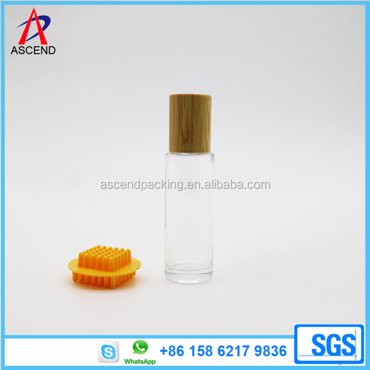 15ml Bamboo lid glass roller bottles with strainless steel Ball