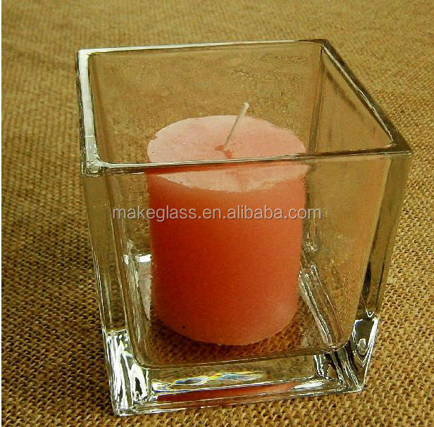square glass candle holder, glass candle holder