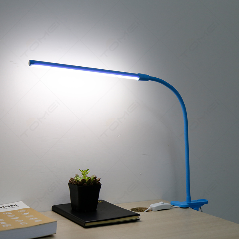 Blue Flexible Night Reading Study Table Clip Clamp Plastic Led Desk Lamp