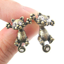 New Fashion Hot Antique Gold and Silver Unique Kitty Cat Two Part Dangle Eearrings for Women ED101