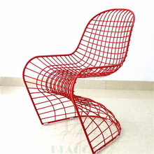 2016 Metal Frame S shape wire side chair with cushion