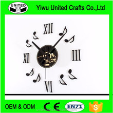 Black Vinyl CD Music Note Roman Numeral Wall Clock DIY Home Decor Art Stickers