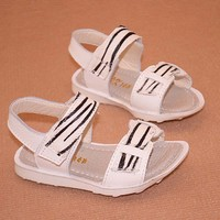 TSW8108 Wholesale baby shoes 2015 summer new genuine leather zebra baby boys beach sandals