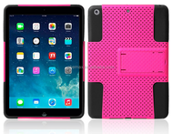 2014 New Design 2 in 1 Stand Holster Hybrid Silicone Rubber Hard Plastic Case For iPad air