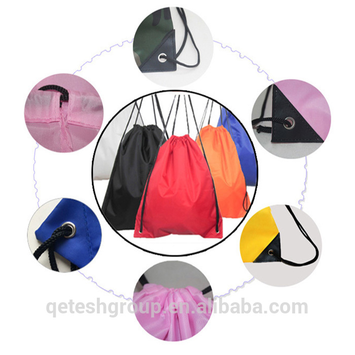 Cheap 210D Nylon Polyester Drawstring Gym Bag With Customized Logo