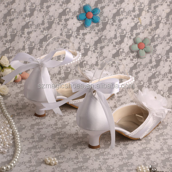 Bridal Low Heel Wedding Shoes White Flower