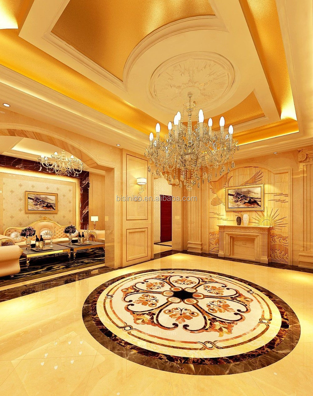 3D Interior Rendering Service For Luxury European Style Living Room Reception Hall with Furnitures