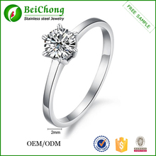 Cheap Prong Setting Zircon Diamonds Rings Price Stainless Steel Women Rings