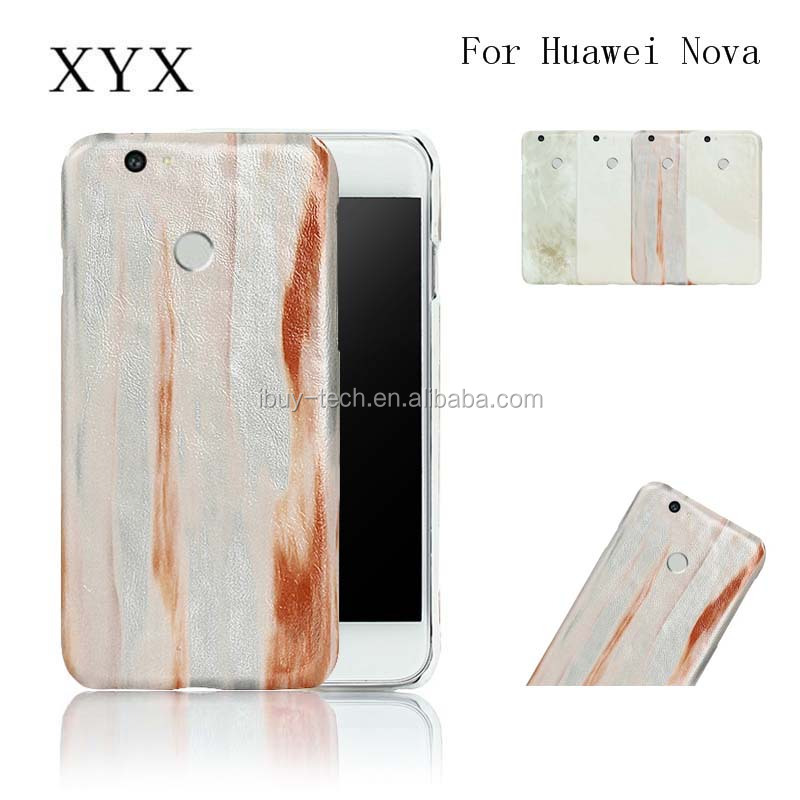 Marble texture Handset Faux Leather crafted back cover case for huawei nova red color