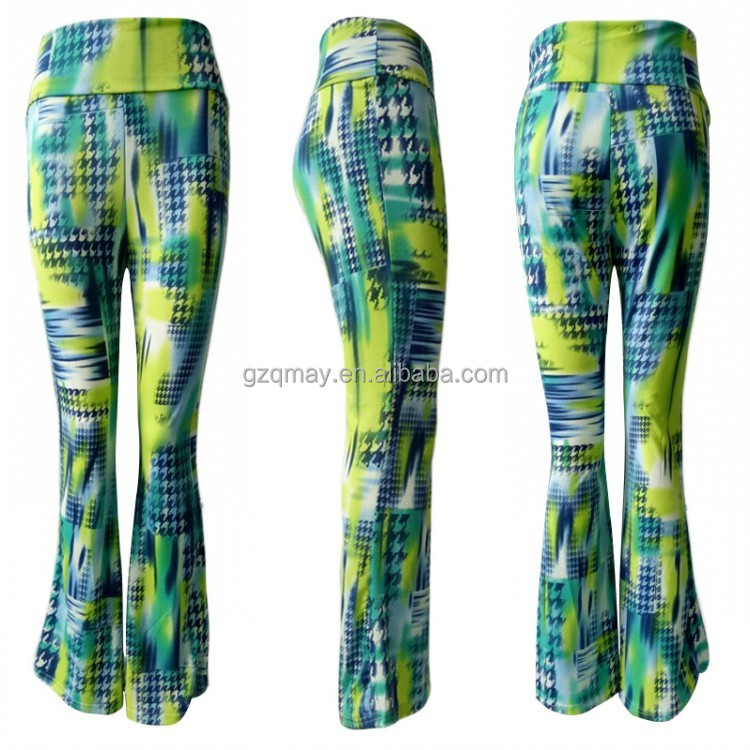 Wide Leg Opening Nylon Spandex Yoga Pants,Milk Silk Polyester Digital Print Yoga Pants,Soft Trumpet Bottom Sweep Leggings