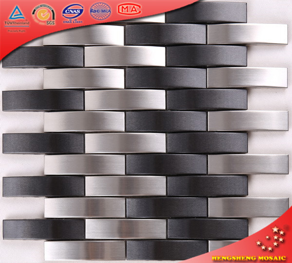 SA76 3D Brushed Metal Stainless Steel Mosaic Kitchen Decorative Wall Tile