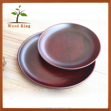 Red Solid Wood Dessert Plate Cup Mat Custom Logo Wooden Small Plate
