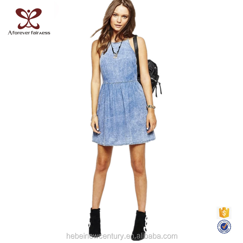 2016 Summer Europe America New Fashion One Piece Dress Pattern Slip Dress Women Denim Dress