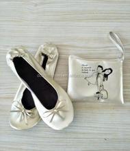 Hot sell ladies favor vending shoes fold up ballerina with box