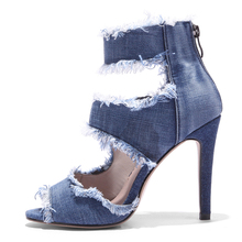 MARCH EXPO summer 2018 wholesale Ankle strap Denim ladies heel shoes women high heel shoes