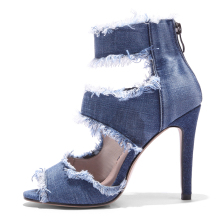 summer 2018 wholesale Ankle strap Denim ladies heel shoes women high heel shoes