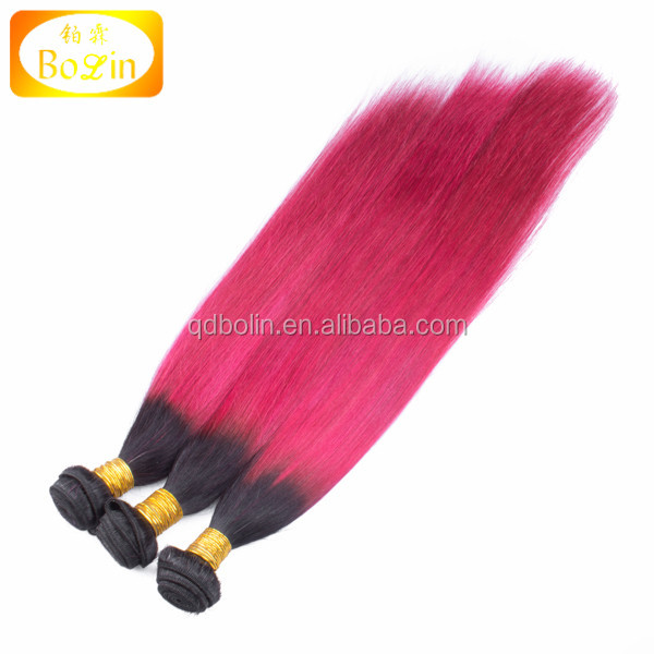 Malaysian Ombre Hair Extensions 3pcs a lot Virgin Hair Malaysian Straight 1B Red Ombre Human Hair Weaving