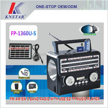 FP-1360U-S FM torch radio player with solar panel system