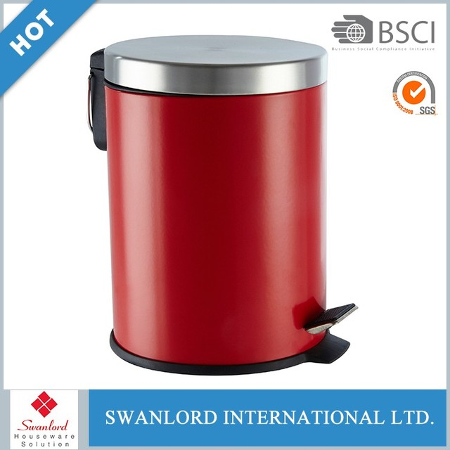 Cheap price red round rubbish bin stainless steel lid