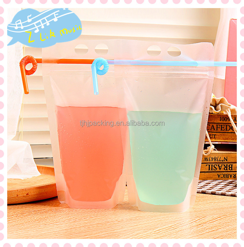 Reusable Clear Drinking Beverage Bag and Transparent Plastic Bag for Beverage