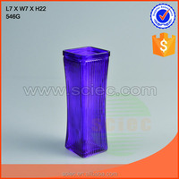 square purple glass vase for flower