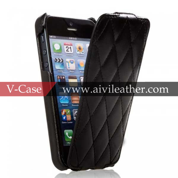 China Supplier Superior Quality Cowhide Genuine Leather Phone Case Top Flip Case for iphone5s