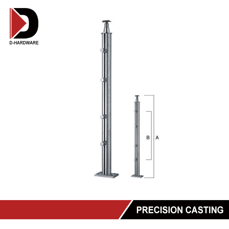 square glass clamp handrail stainless steel railing pillar