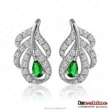 LZESHINE Emerald Color Peacock Stud Earring for Women Hot New Fashion Copper Jewellery Brinco de Pavao CER0053-B