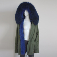 Myfur Army Green Fabric Parka with Fox Belly Fur Lining Winter Coat Wholesale