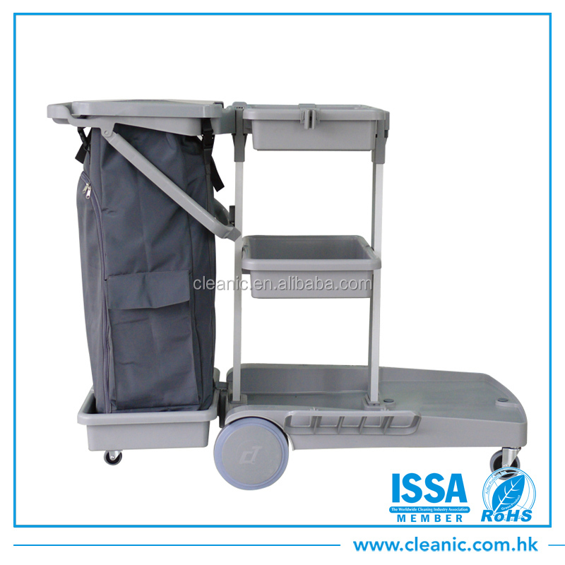 High quality multipurpose plastic cleaning hotel trolley