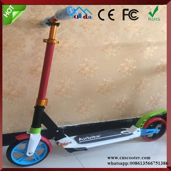 200mm pu wheel stand up vehicle Adult push folding kick scooter with suspension shocks