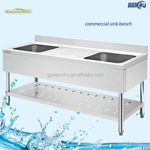 Thailand Kitchen Sink Work Table/Commercial Double Bowl Kitchen Sink Bench for Restaurant Project Manufacturer