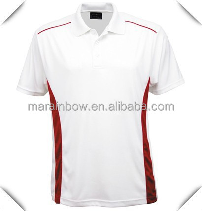 Anti-pilling 90% Polyester+10% spandex blended fabric white color golf polo t shirts with red stripes design OEM