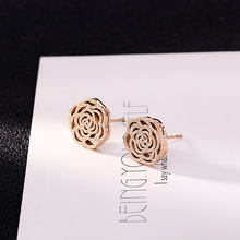 Classic Hollow Flower Rose Gold Stainless Steel Stud Earrings For Women Trendy Wedding Jewelry (KSS205)