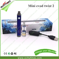 2015 best selling shenzhen e cigarette 850mah evod startert kit & Mini Evod Twist 2 kit with 2ml oil vaporizer cartridge