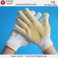Rubber cotton gloves anti-slip dots grip palm fit gloves