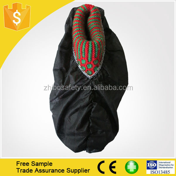 Disposable nonwoven shoes cover antiskid - black color