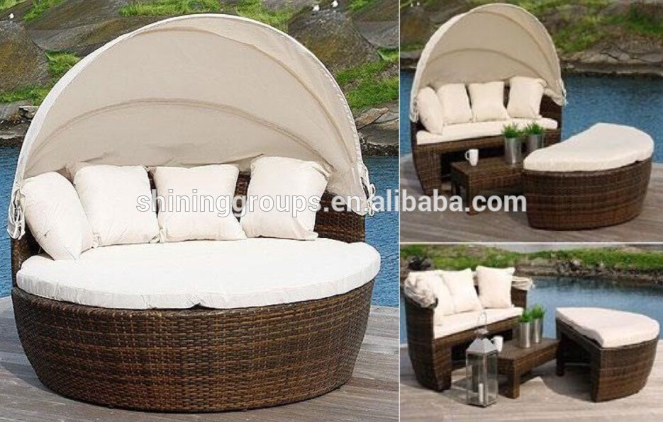 Promotion Garden Furniture Outdoor Rattan Sectional Sofa Round Sofa Bed