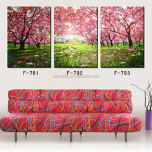 HD Digital Printings 3 Piece Art Scenery Paintings Pink Cherry Blossom Trees in Sunshine Wall Canvas Pictures
