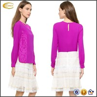 ladies long sleeve hot pink lace trim lycra blouse designs