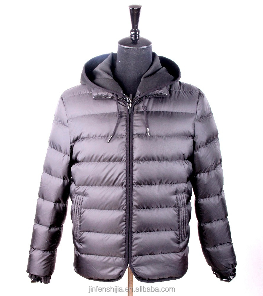Custom fashion winter mens down feather jacket with hood 2016