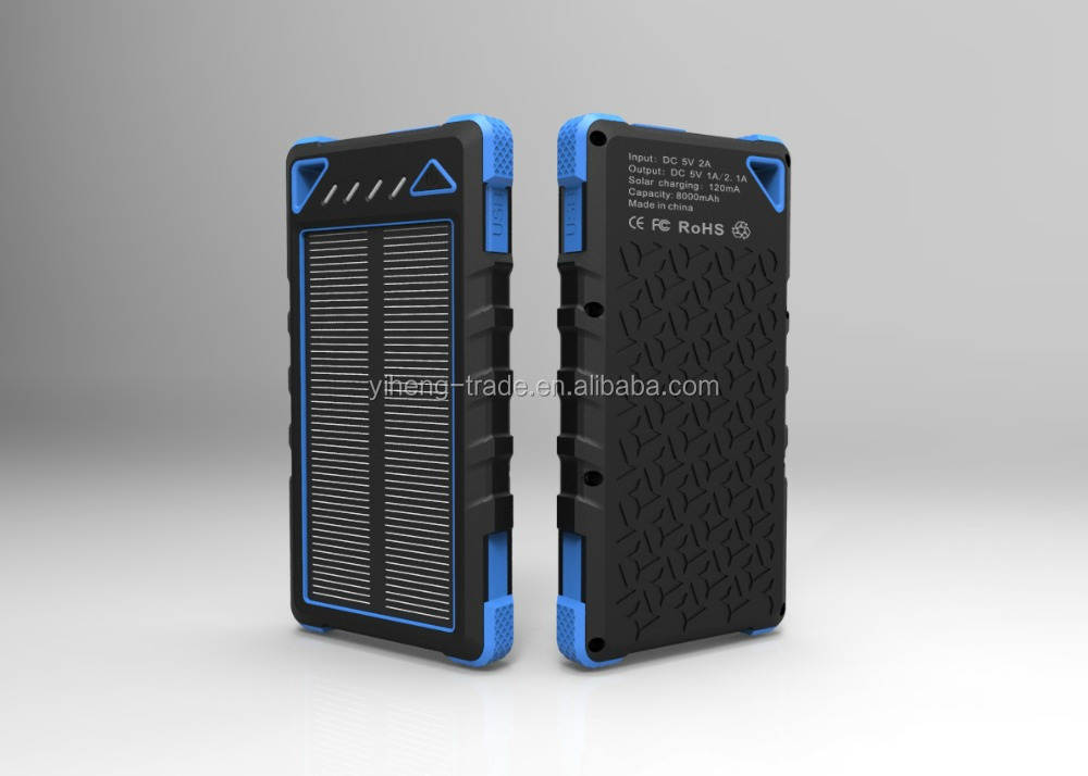 2017 newest high capacity 8000mah solar power bank,solar energy.solar <strong>mobile</strong> charger