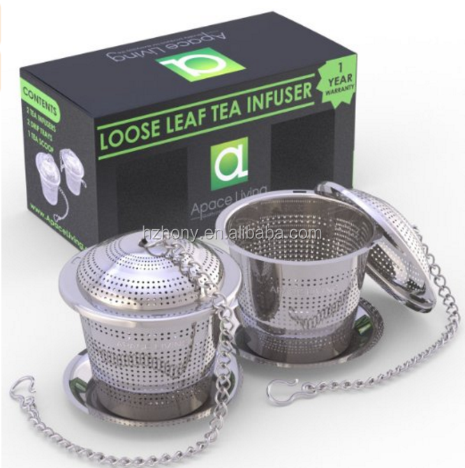 Apace Living Loose Leaf Tea Stainless Steel Strainer (Set of 2) with Tea Scoop and Drip Trays