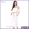 High Quality Custom Ladies White Off The Shoulder Belted Dress