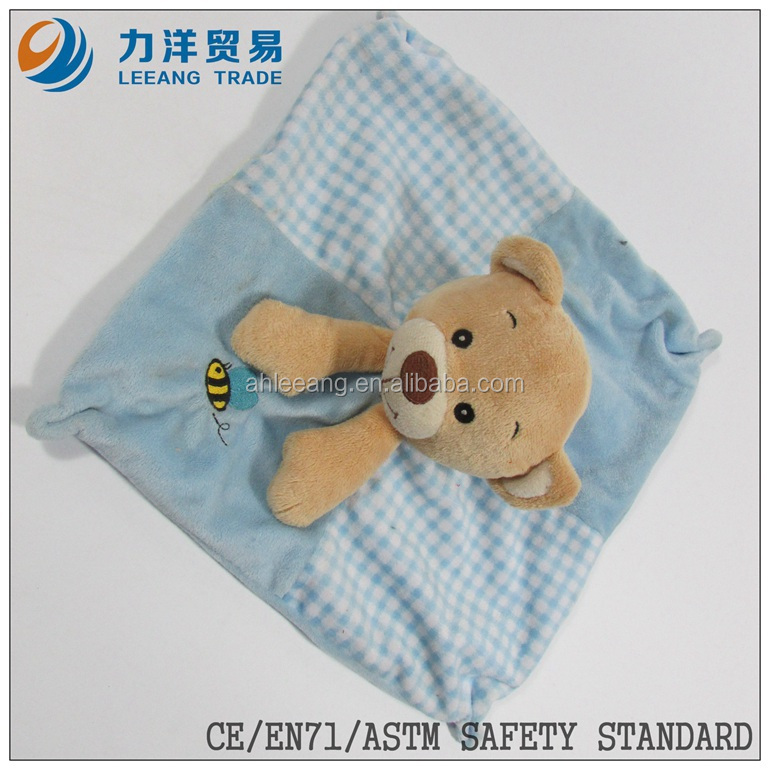cute/lovely baby plush/stuff toys/animal toys/animal with blanket/blue doudou, Customised toys,CE/ASTM safety stardard