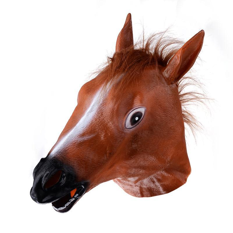 cosplay horse head mask creepy halloween costume theater prop novelty latex rubber horse head mask party