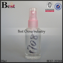 fine quality cheap 35ml cylinder screw mouth pink plastic spray clear transparent moulded glass perfume bottle