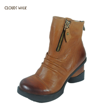 Genuine Leather Unique Style Winter Boots for women Classic Women Cool Punk Boots Genuine Leather Zipper Boots women wholesale